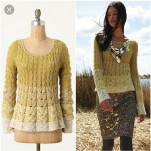 Anthropologie | Sparrow Ombre Knit Yellow Sweater